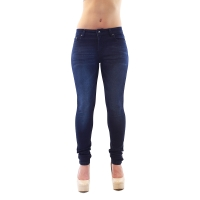Navy Blue Distressed Mid-Rise Skinny Jeans