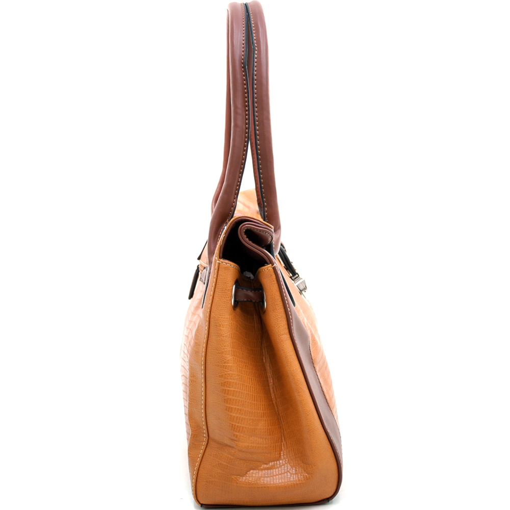 Dasein Kroco® Folded Top Shoulder Bag