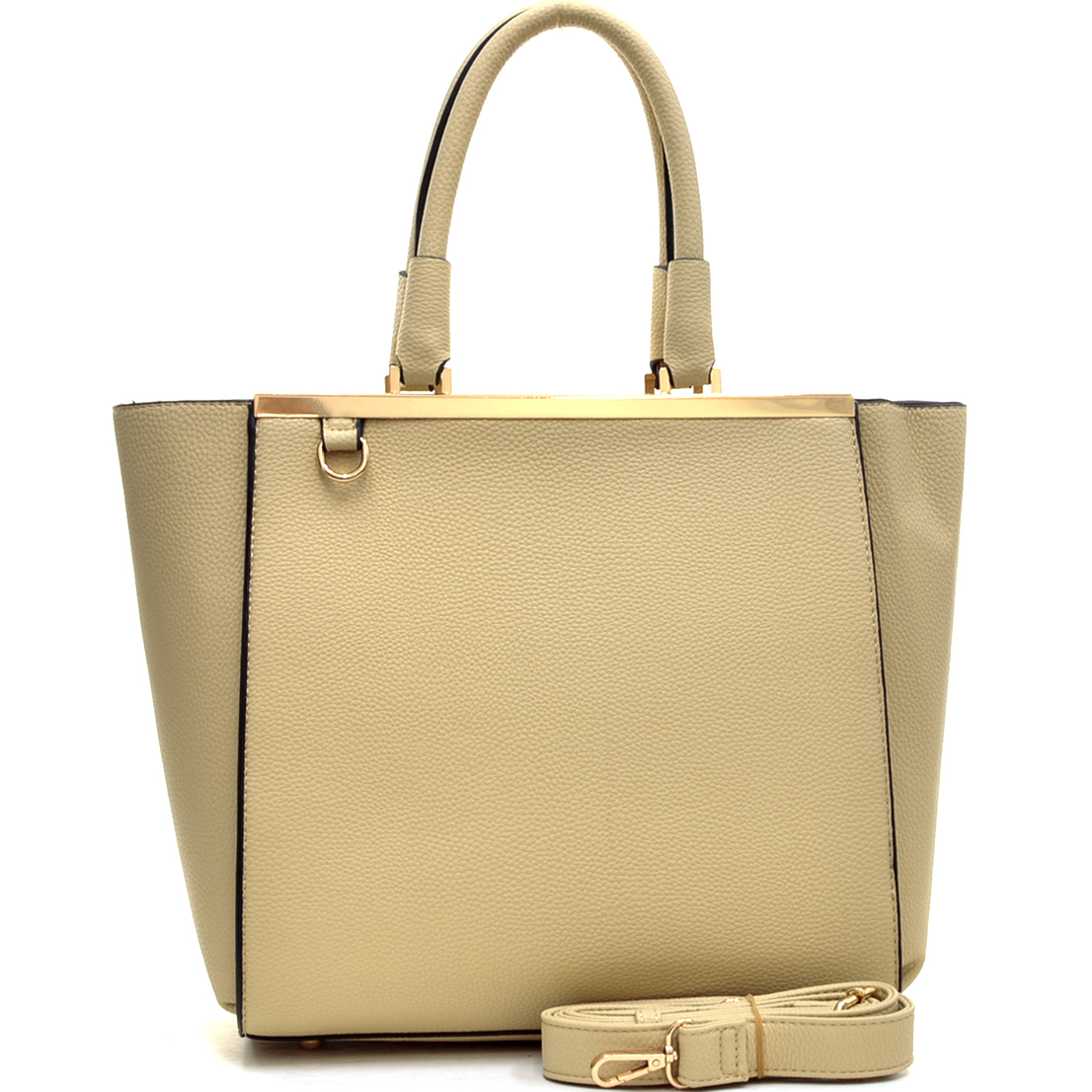 Buffalo Faux Leather Gold-Tone Satchel with Shoulder Strap