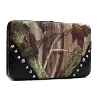 Realtree® Camouflage Frame Checkbook Wallet with Croco Trim