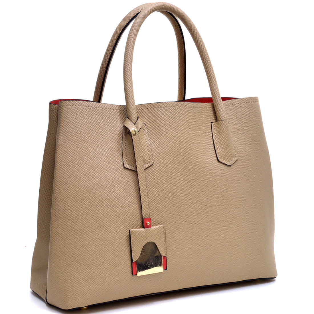 Colorblocked Faux Leather Tote Bag with Removable ID Tag