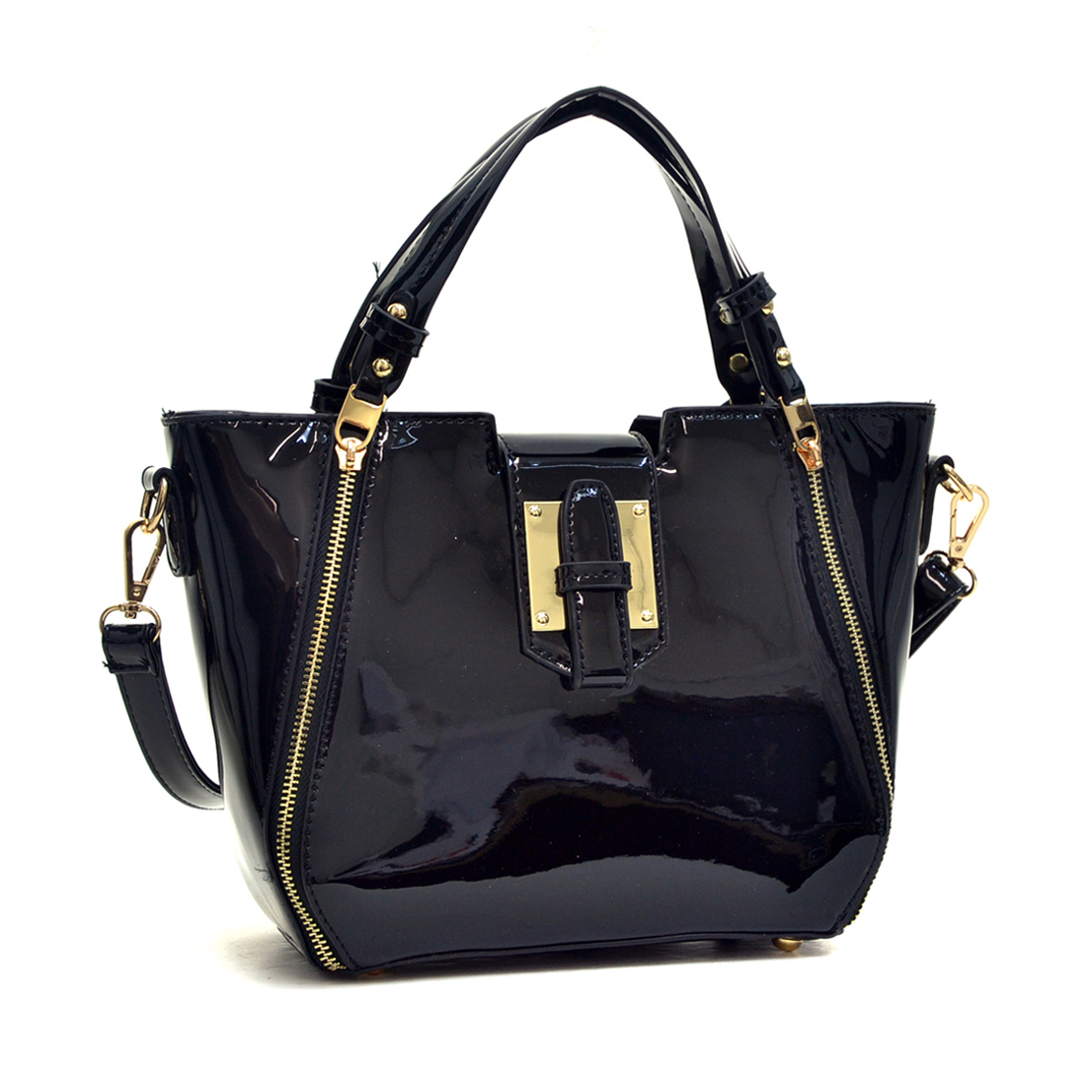 Patent Faux Leather with Zipper Front Detail