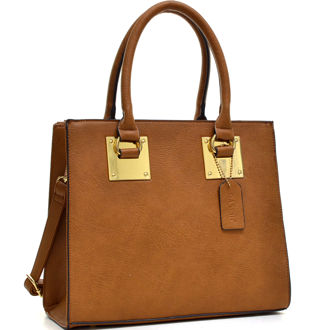 Structured Faux Leather Satchel with Shoulder Strap
