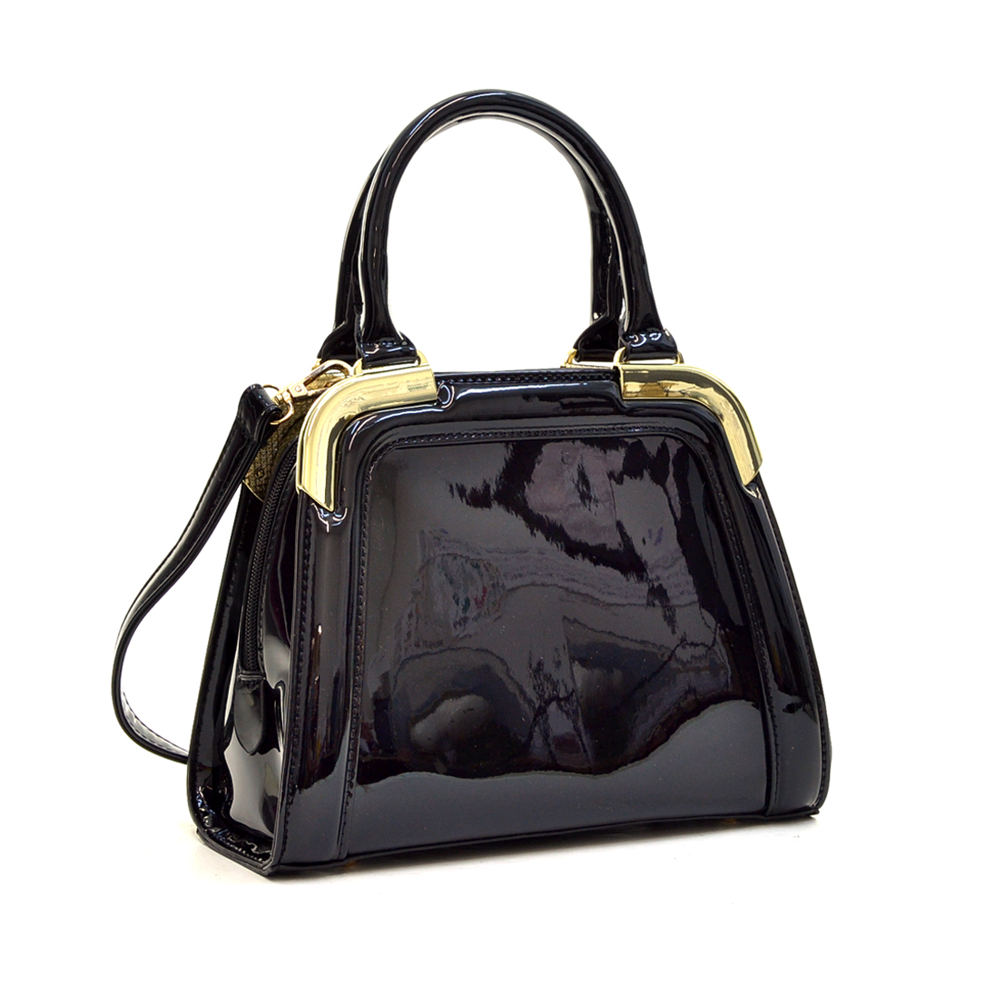 Patent Faux Leahter Gold-Tone Corner Satchel with Shoulder Strap