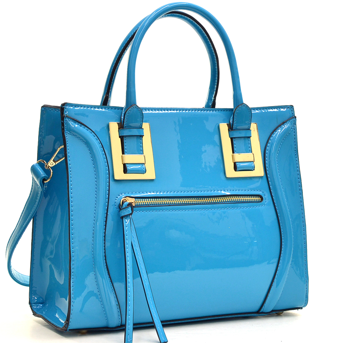 Structured Patent Faux Leather Satchel with Zipper Front Pocket