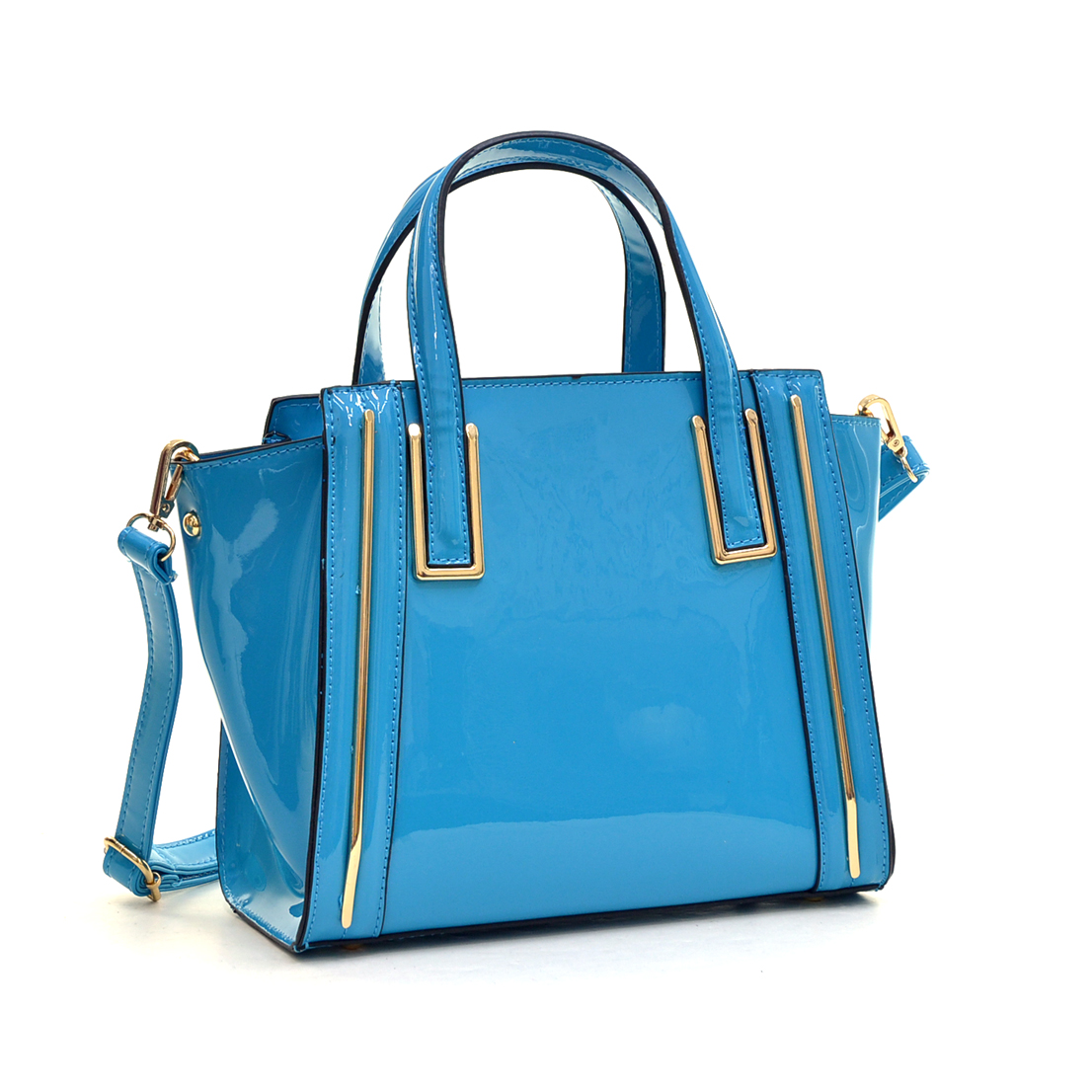 Faux Patent Leather Winged Tote Satchel