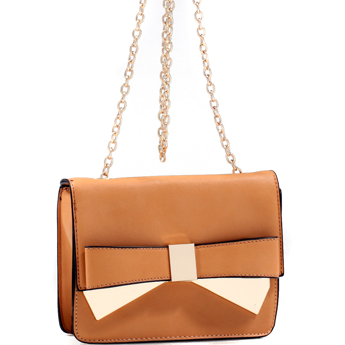 Gold-Tone Chain Strap Bow Crossbody
