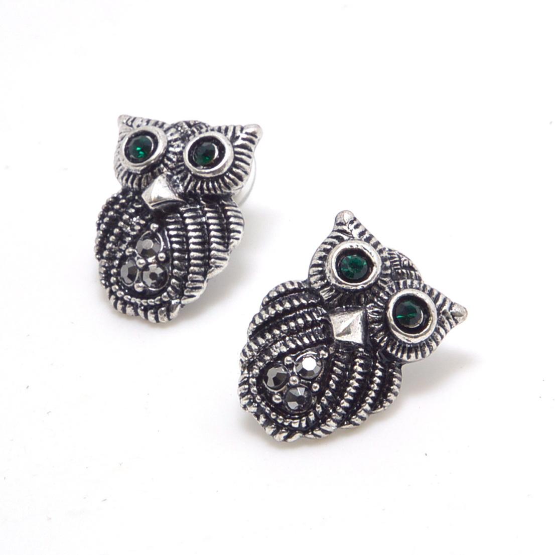 Silver-Tone Owl Stud Earrings with Green Rhinestone Eyes