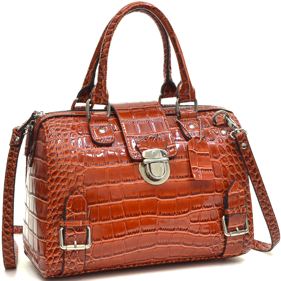 Dasein® Patent Barrel Body Satchel with Shoulder Strap