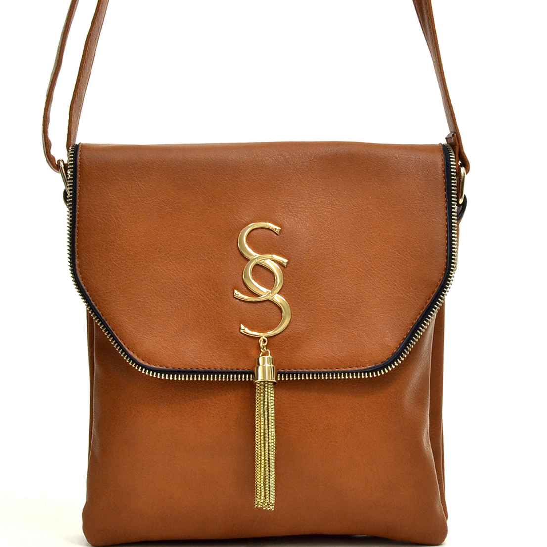 Double Pockets Gold-Tone Tassel Messenger Bag