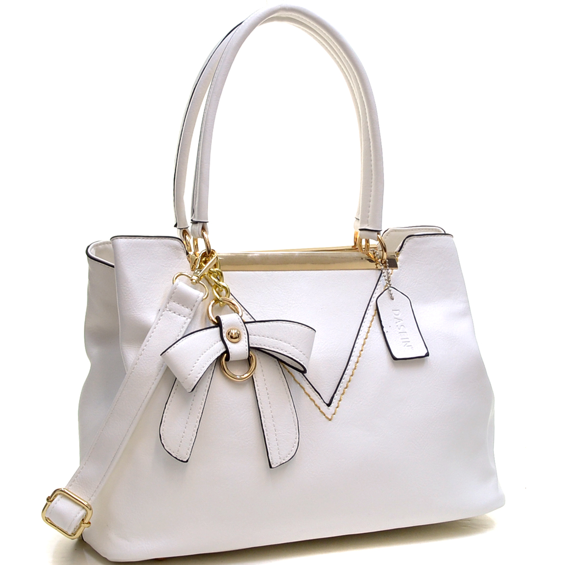 Gold-Tone Bow Accent Shoulder Bag with Shoulder Strap