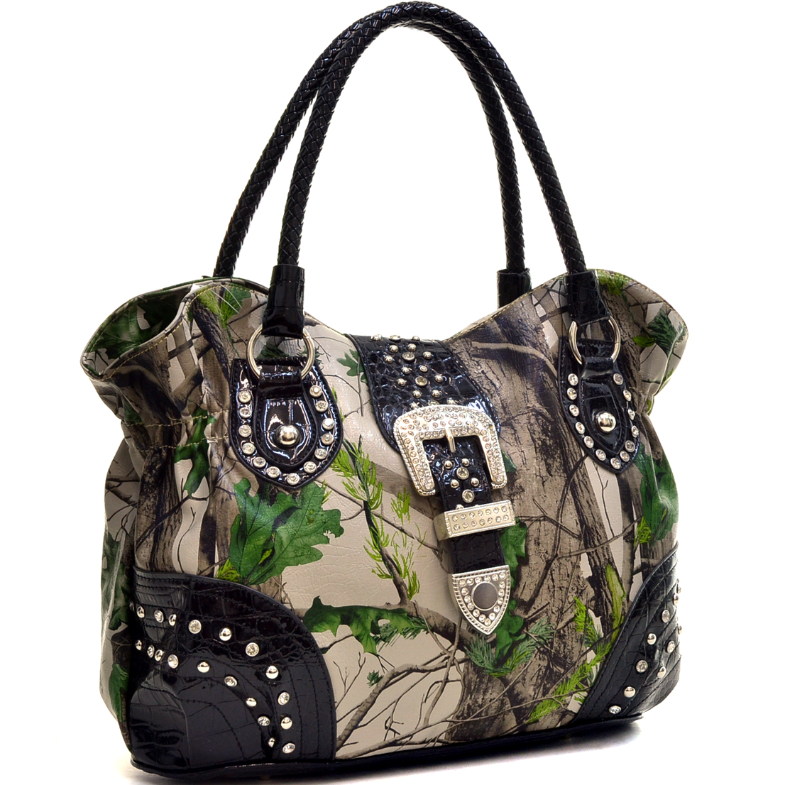 Patent Faux Leather Camo Rhinestone Buckle Shoulder Bag