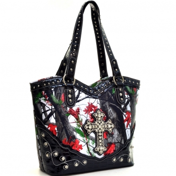 Faux Patent Camo Rhinestone Cross Studded Shoulder Bag