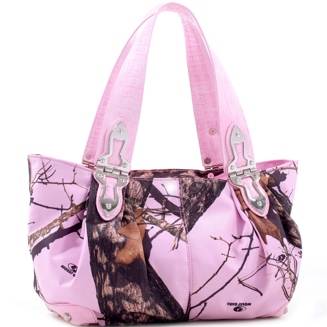 Camouflage shoulder bag with hinge handles & croco trim - camouflage/ coffee