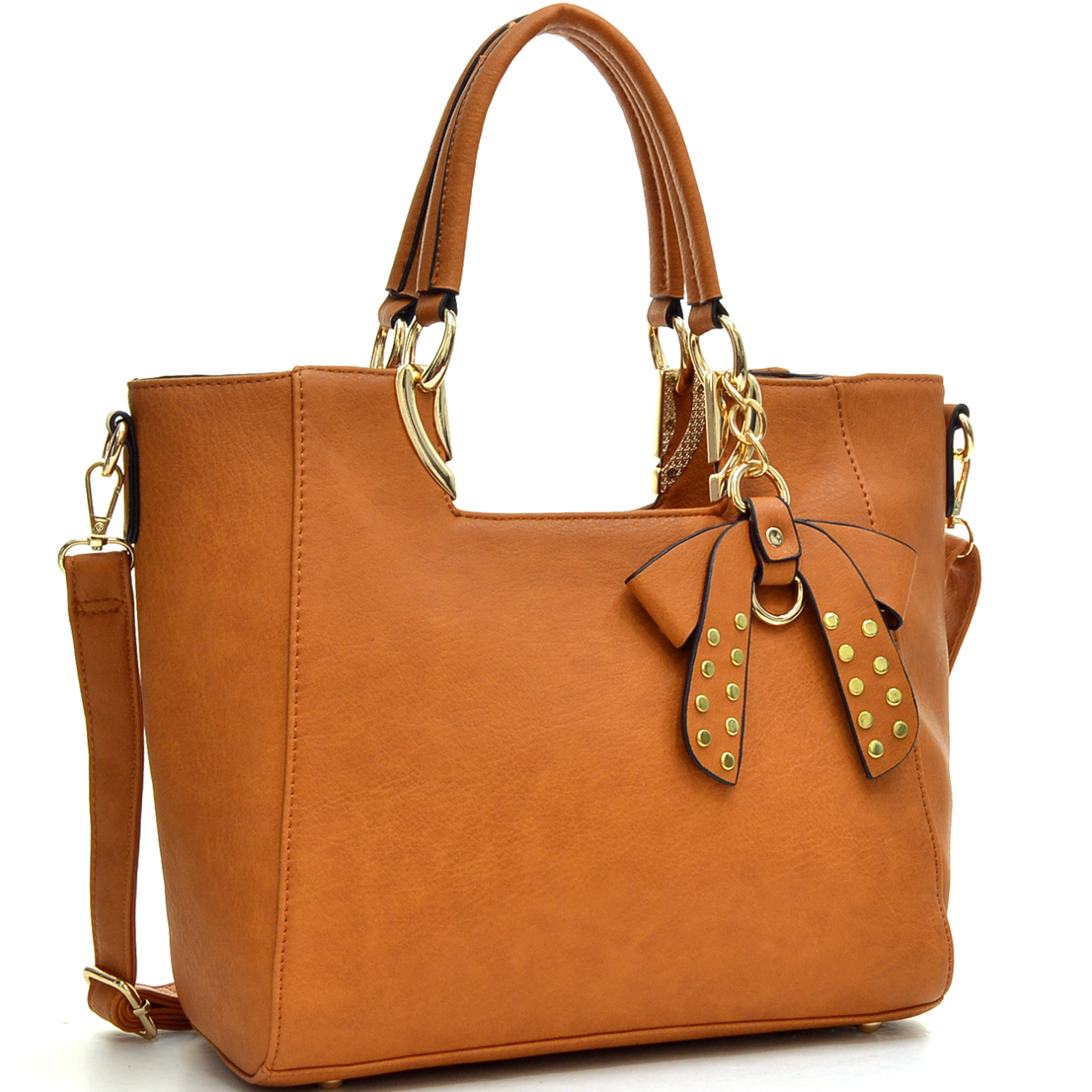 Metal Handle Faux Leather Structured Satchel with Bow Accent