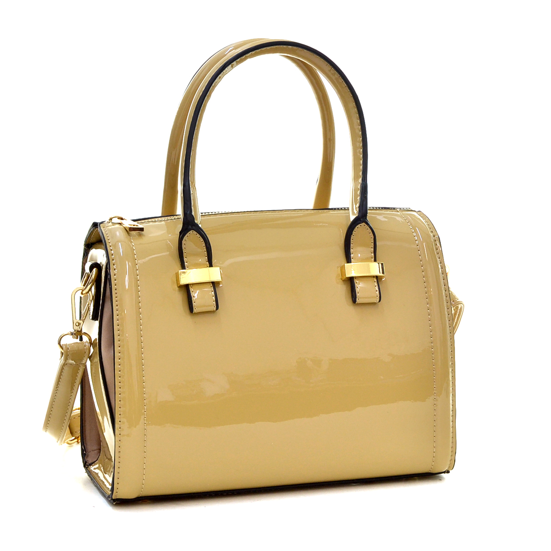Mini Patent Faux Leather Barrel Body Satchel with Shoulder Strap