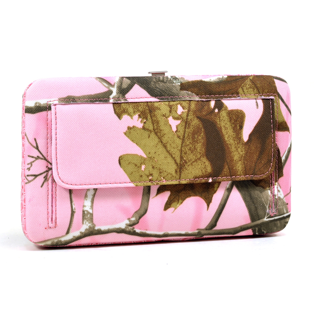 Realtree® AP Pink Camo Studded Croco Trim Frame Wallet