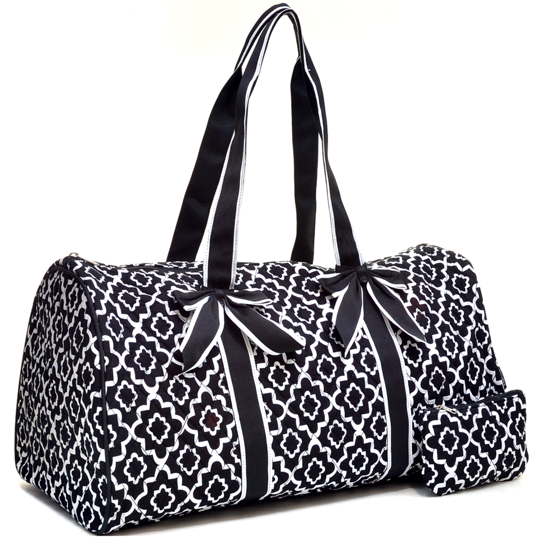 Large Quatrefoil Print Quilted Duffle Bag with Coin Pouch