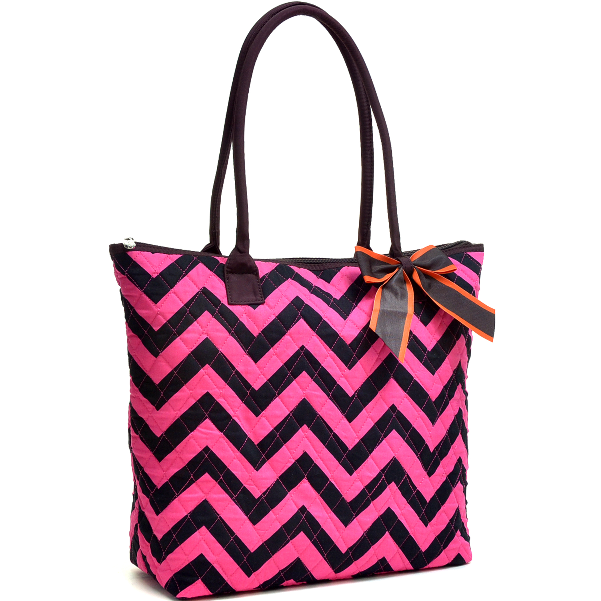 Chevron Print Quilted Tote Bag with Removable Bow
