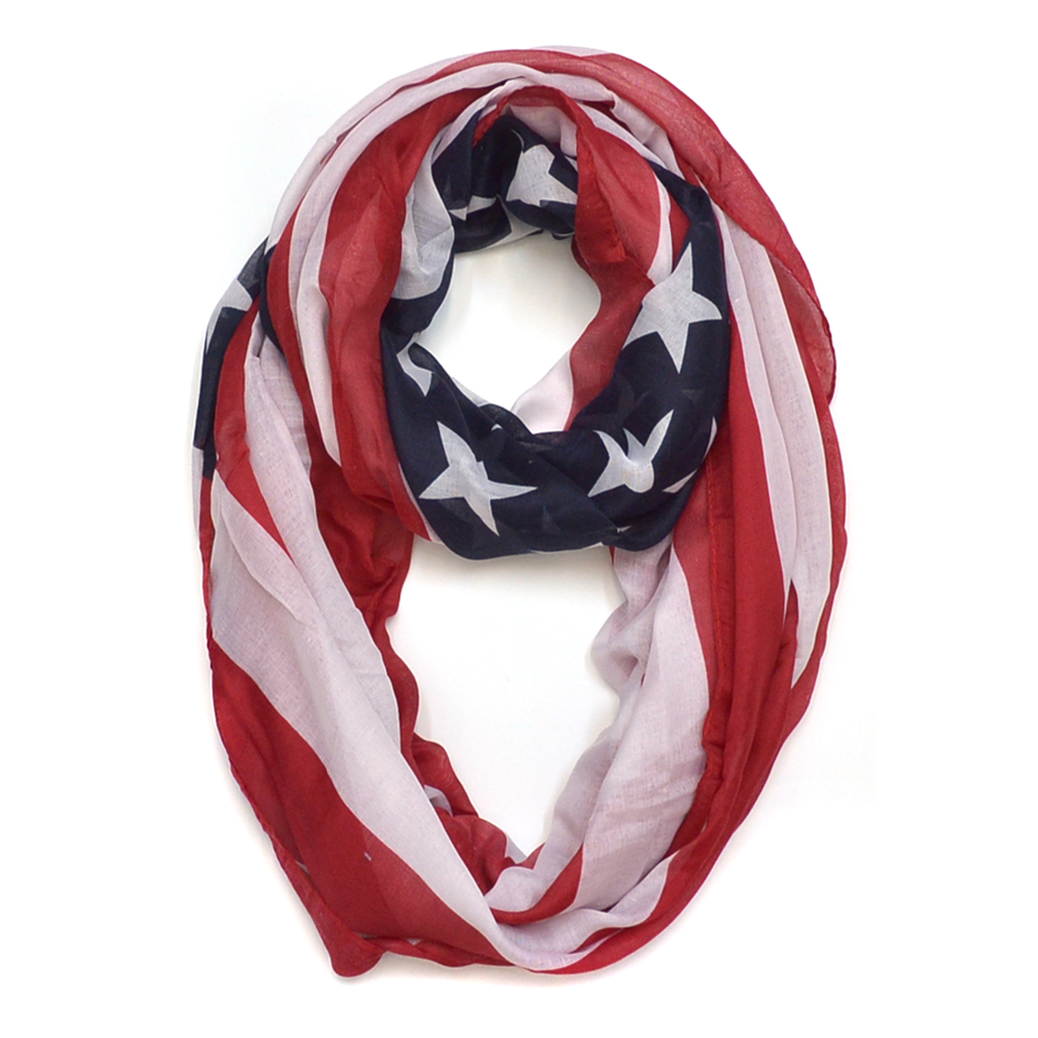 Sheer American Flag Colors Scarf