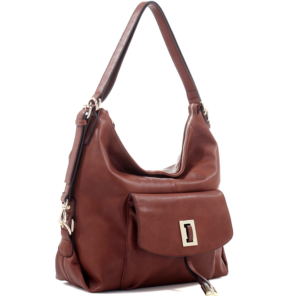 Large Concealed Carry Faux Leather Hobo Backpack