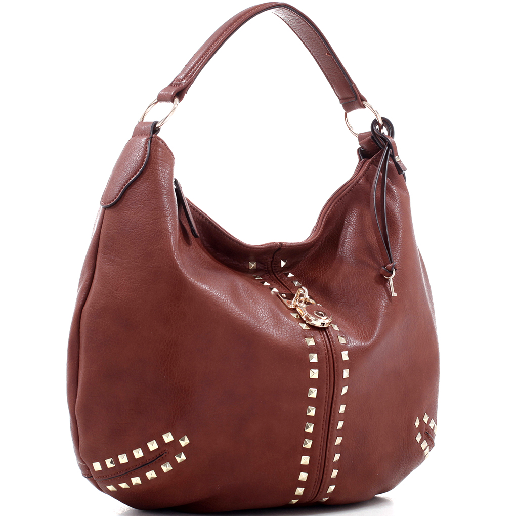 Large Concealed Carry Faux Leather Chain Hobo Bag