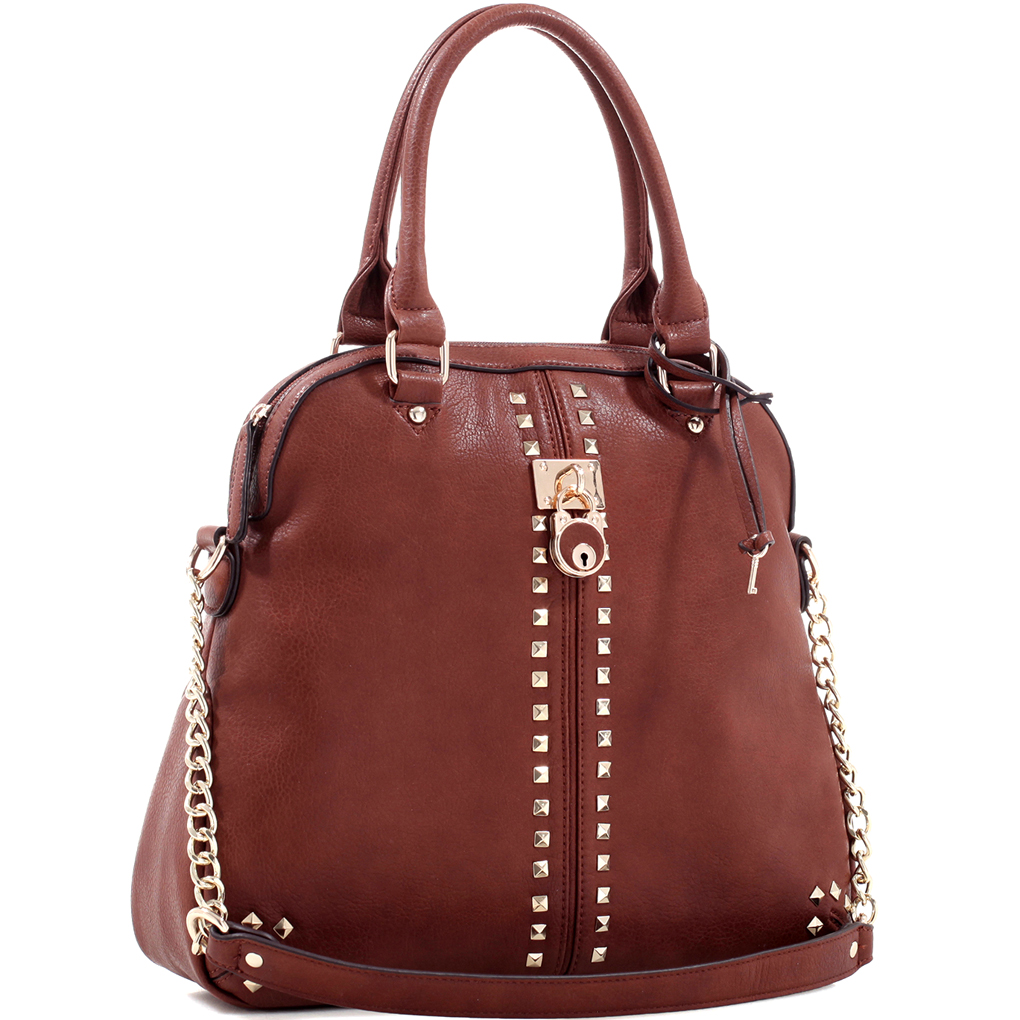 Lock Concealed Carry Faux Leather Chain Satchel Bag