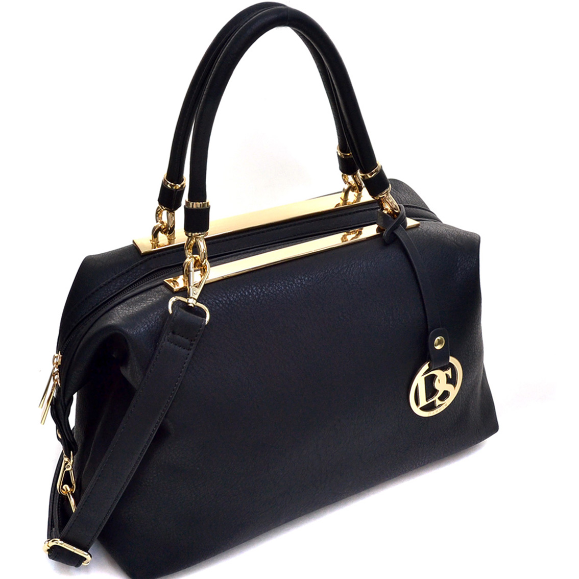 Gold-Tone Frame Shoulder Bag w/ Dasein Emblem