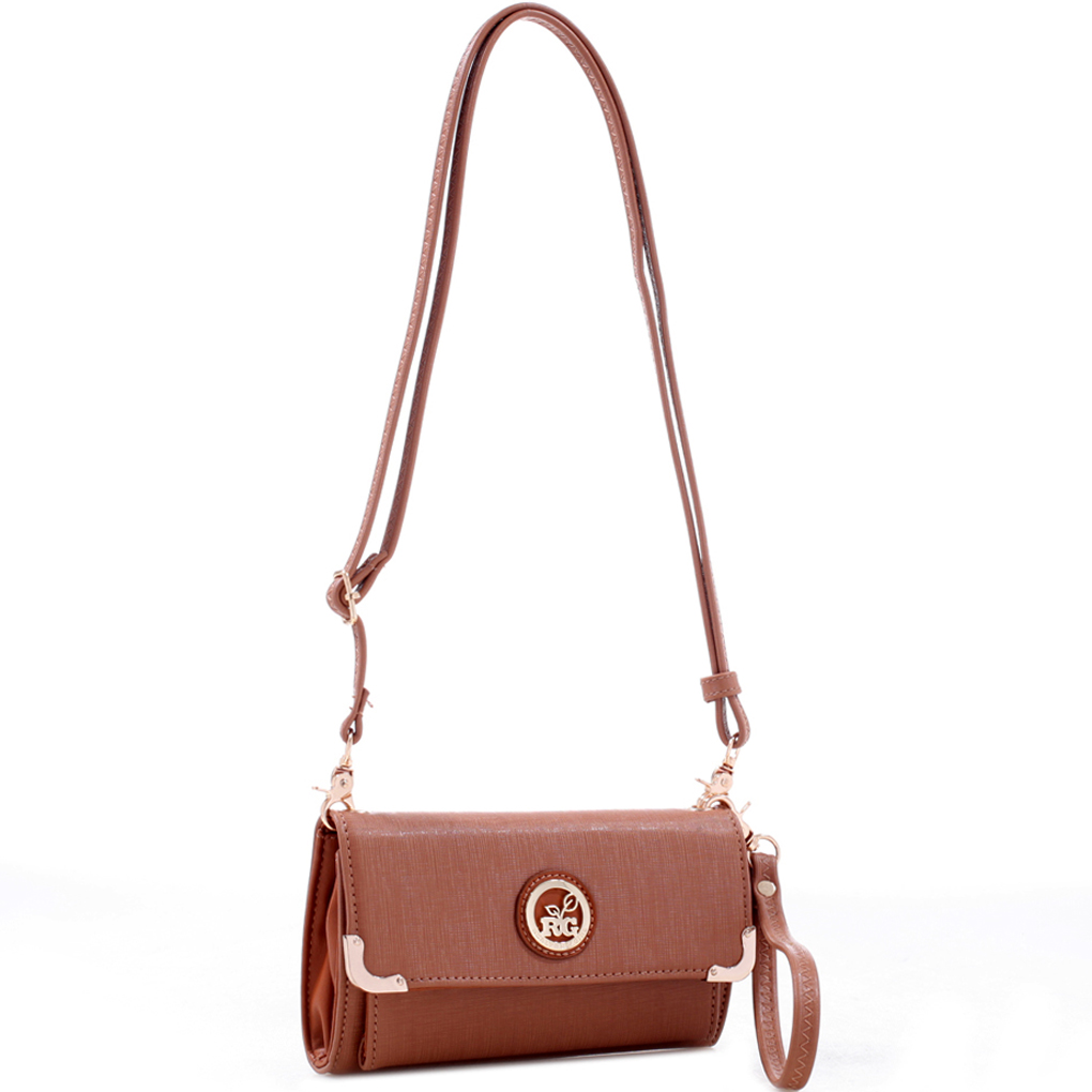 Crosshatch Faux Leather Metal Trim Crossbody with Wristlet Strap