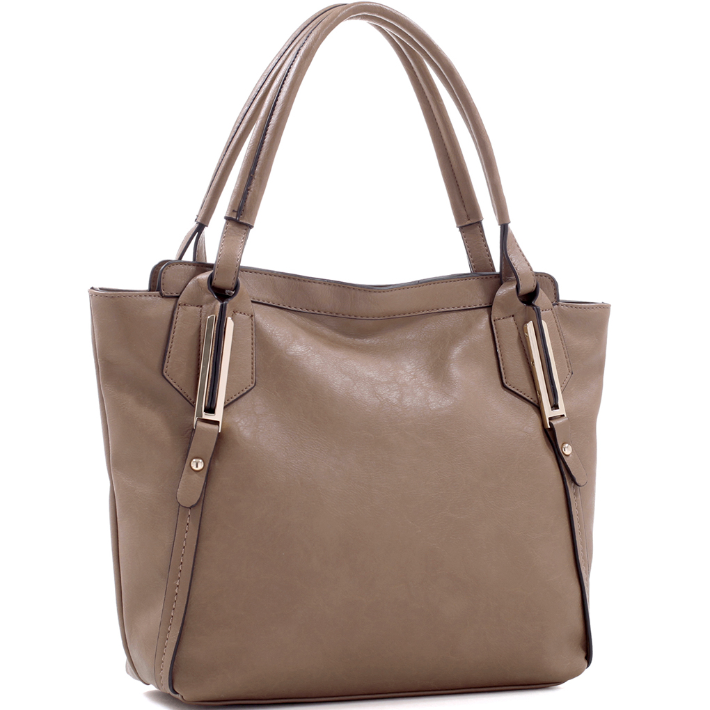 Large Concealed Carry Faux Leather Tote Bag