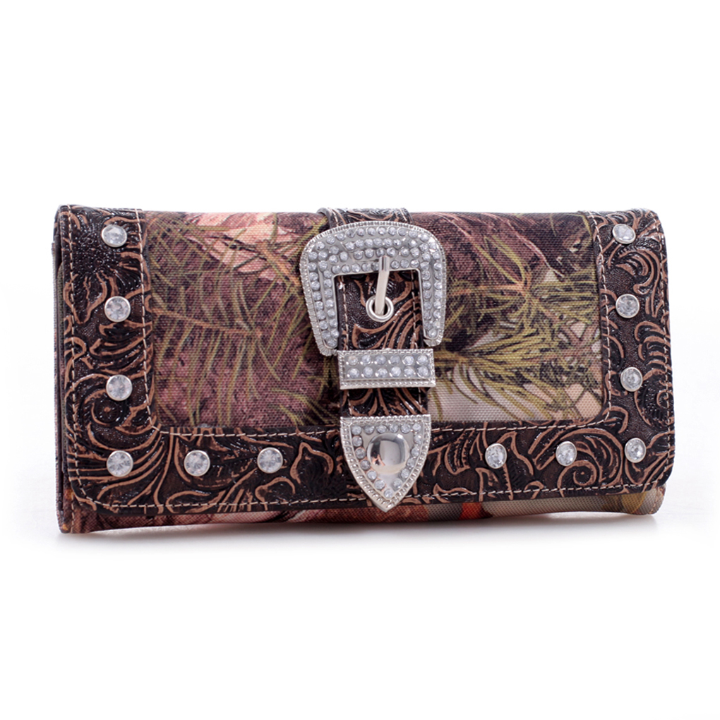 King's Camo® Rhinestone Studded Buckle Checkbook Wallet