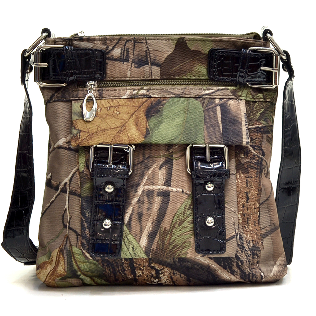 Real Tree® Camouflage Messenger Bag with Croco Trim