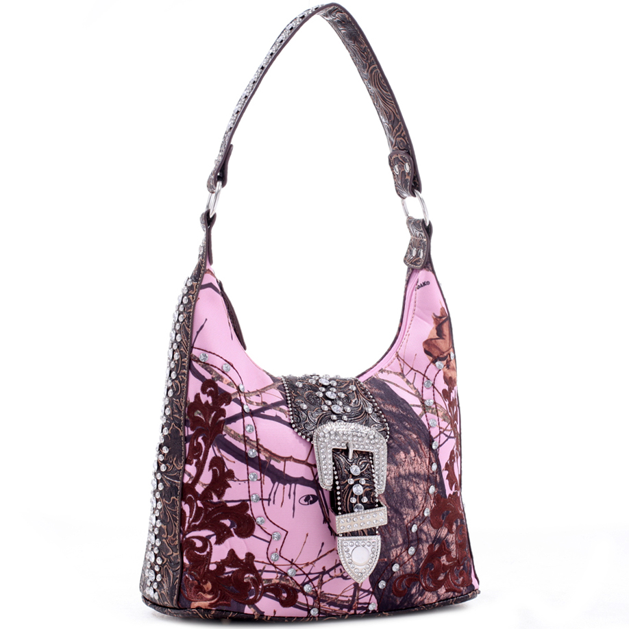 Mossy Oak® Rhinestone Buckle Hobo Bag