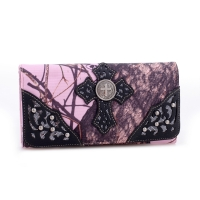 Mossy Oak® Studded Cross Embroidered Faux Leather Wallet