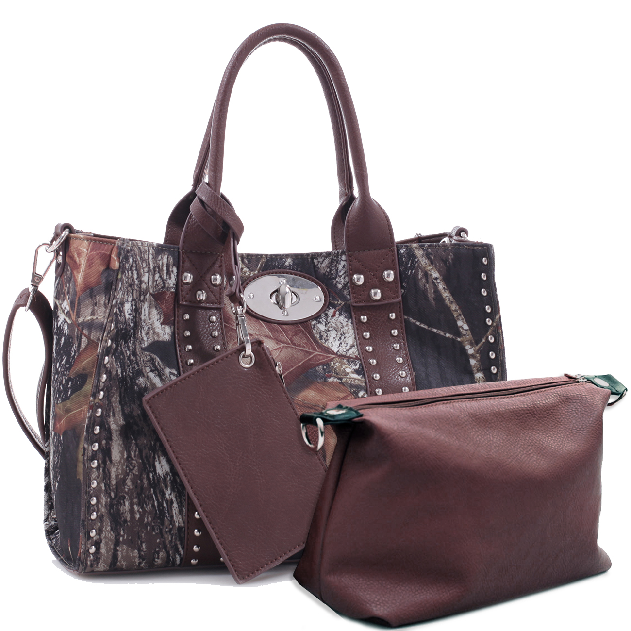 Mossy Oak® 2-in-1 Studded Twist Lock Satchel with Shoulder Strap