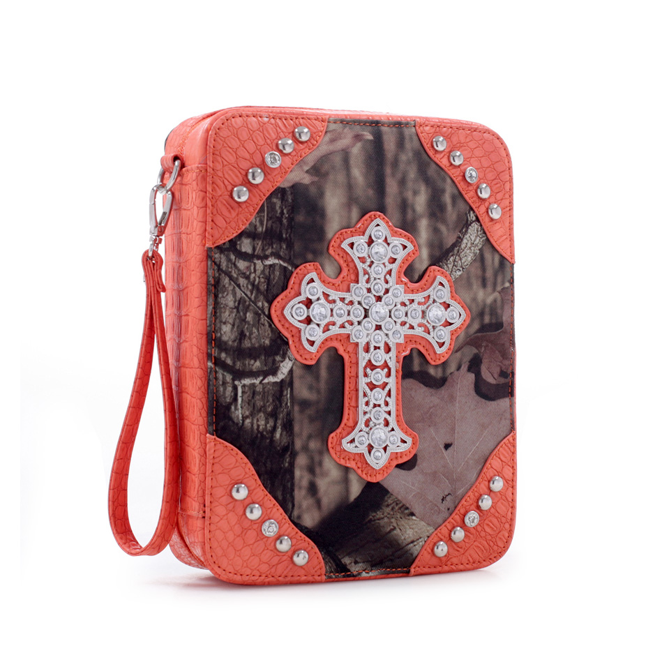 Mossy Oak Camouflage Print Bible Cover w/ Croco Trim and Studded Cross Emblem