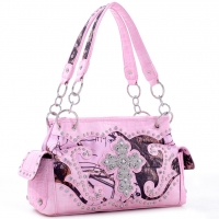 Studded Camouflage Shoulder Bag w/ Rhinestone Cross