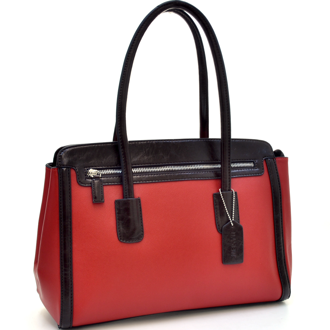 Dasein® Zippered Two Tone Shoulder Bag