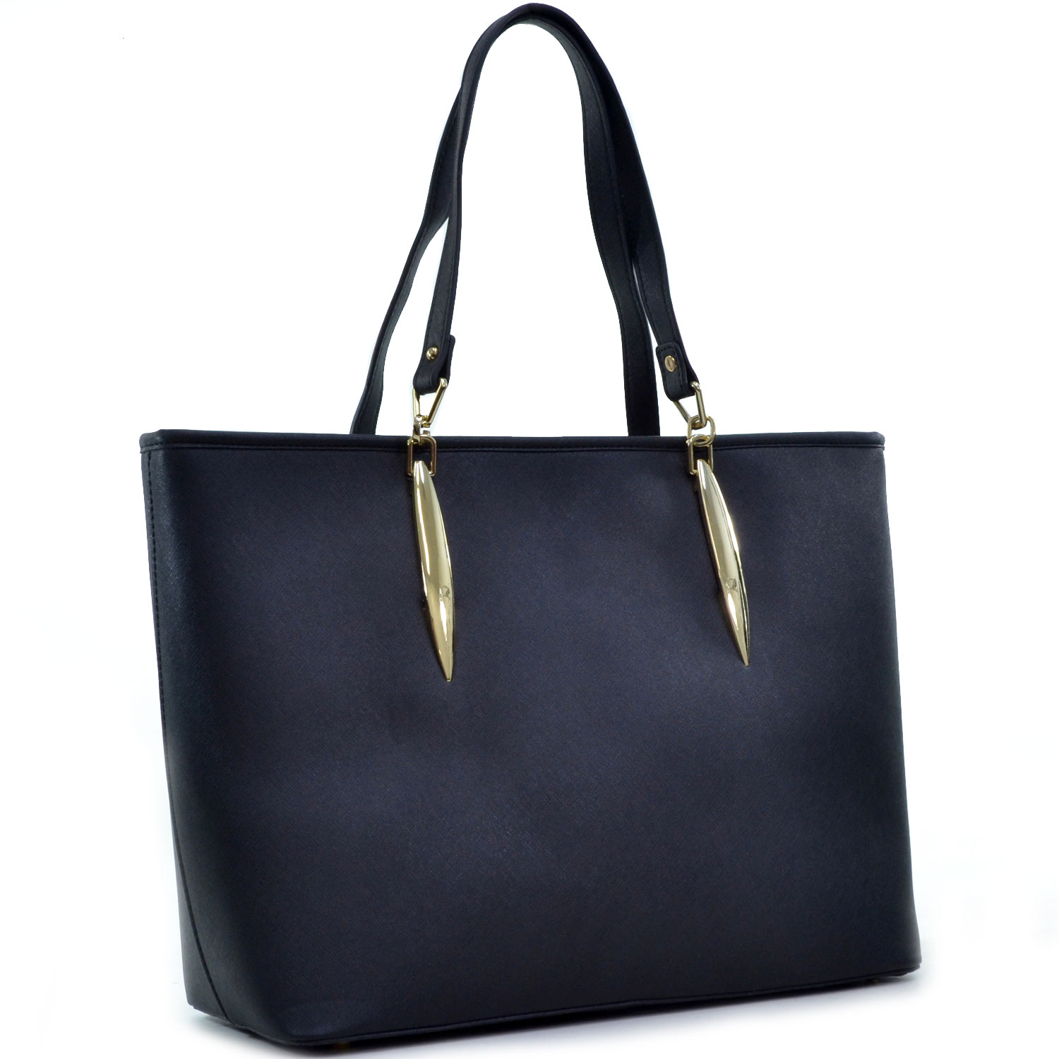 Dasein® Large Saffiano Faux Leather Tote with Minimal Accent Hardware