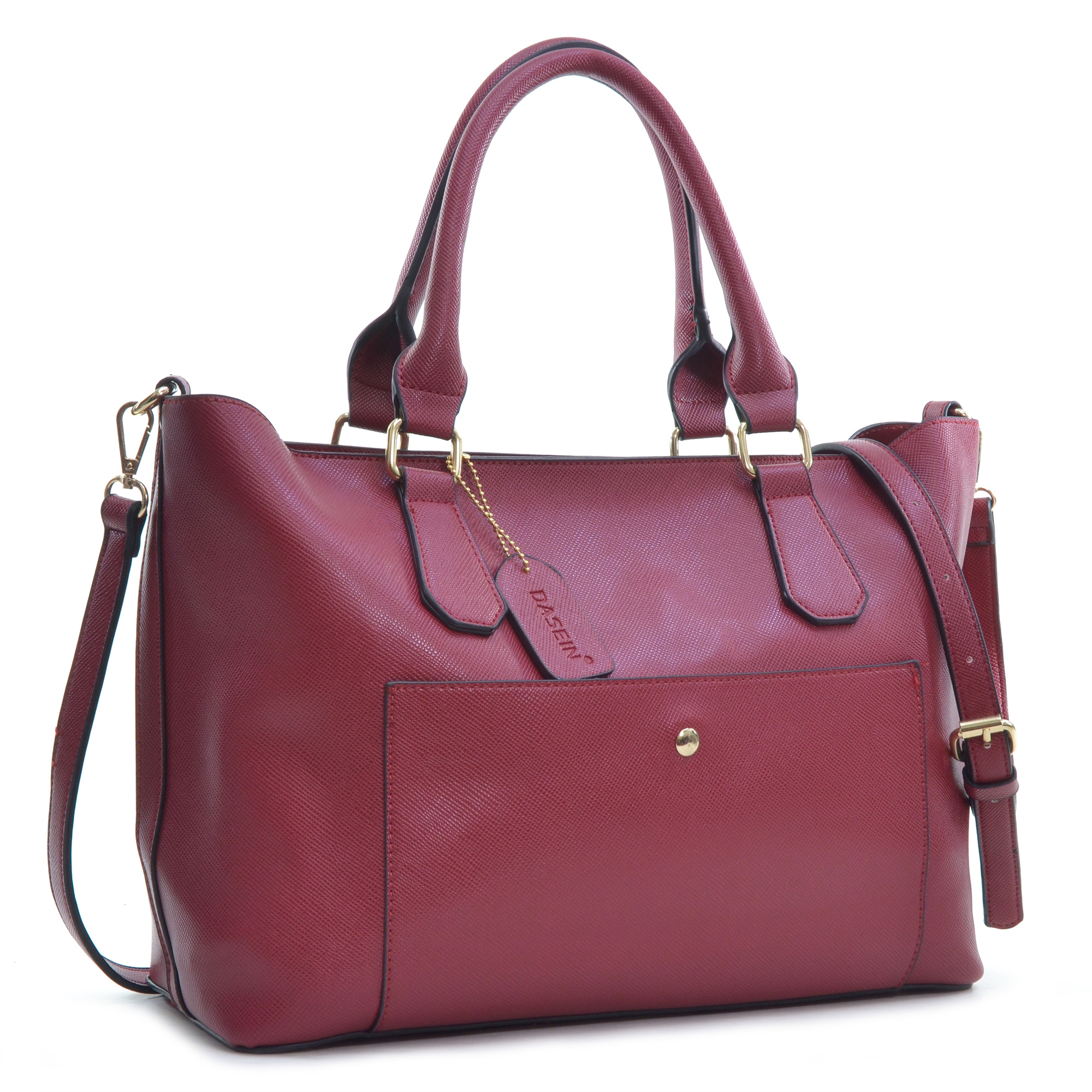 Dasein® 2-in-1 Saffiano Faux Leather Satchel with Front Snap Pocket