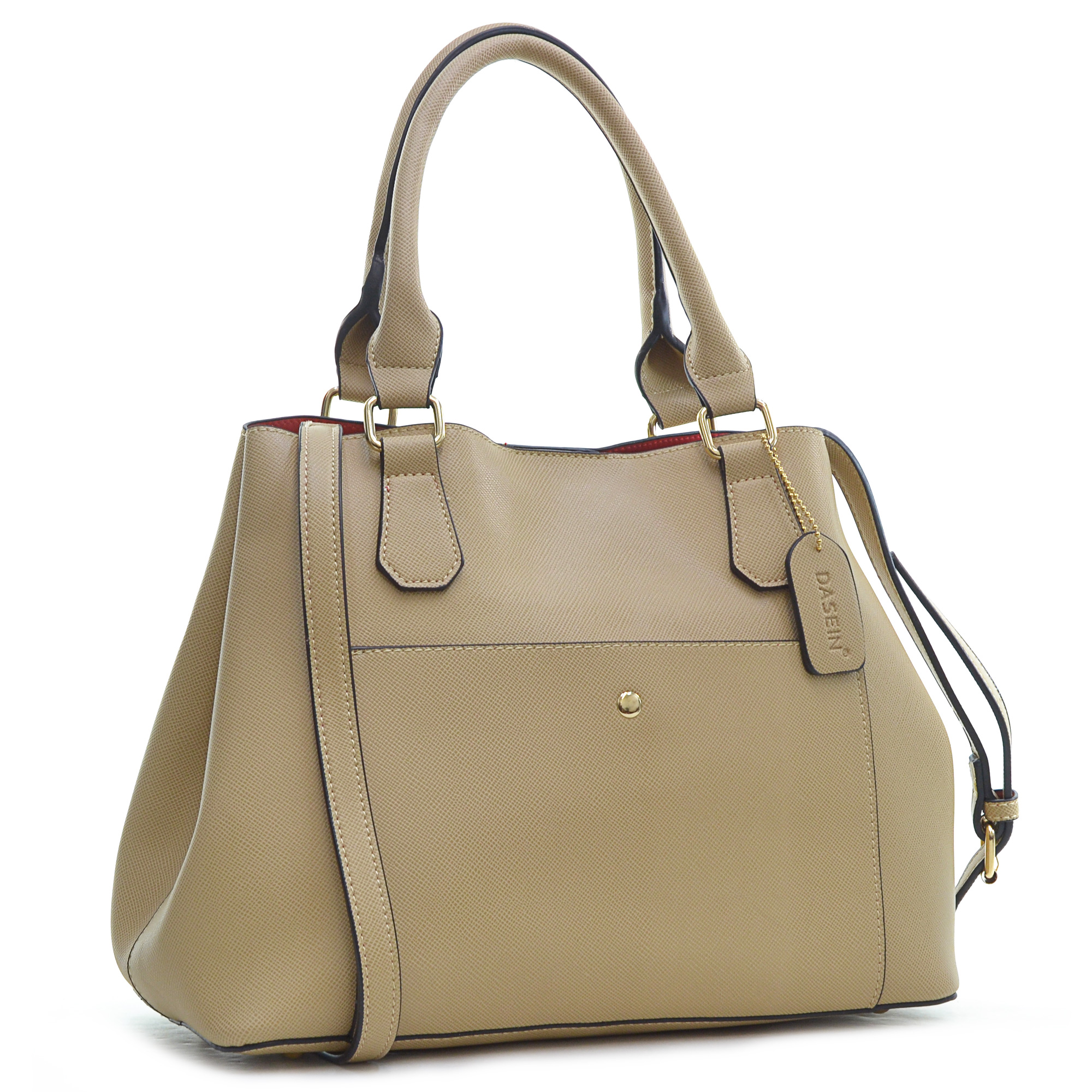 Dasein® Saffiano Leather Gathered Top with Shoulder Strap