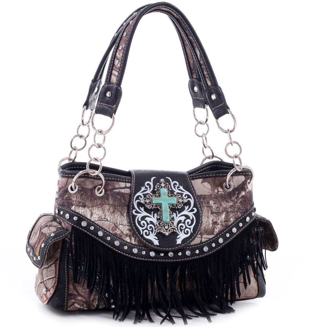 Realtree® Fringed Studded Turquoise Cross Shoulder Bag
