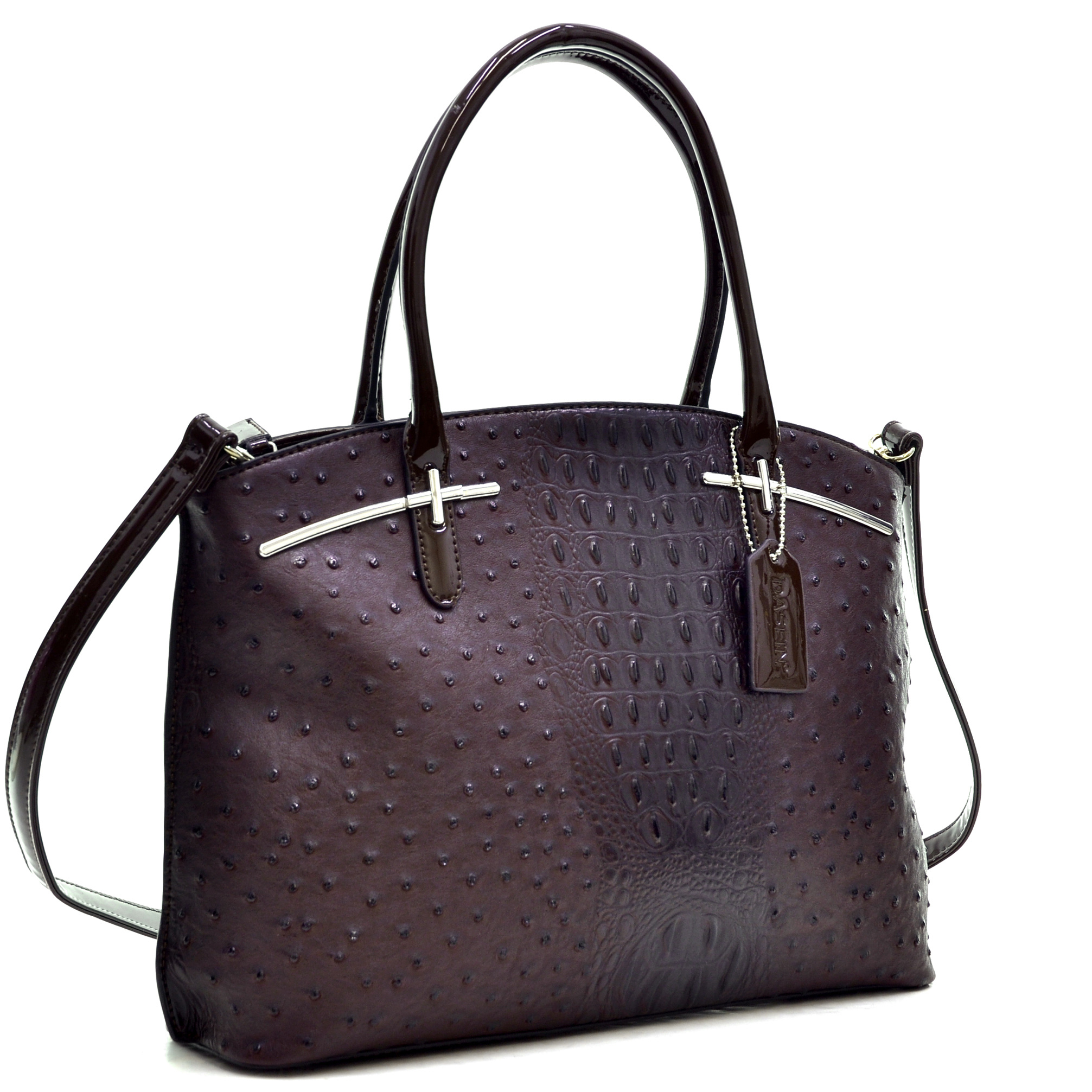 Dasein® Ostrich Faux Leather with Patent Leather Trim Satchel
