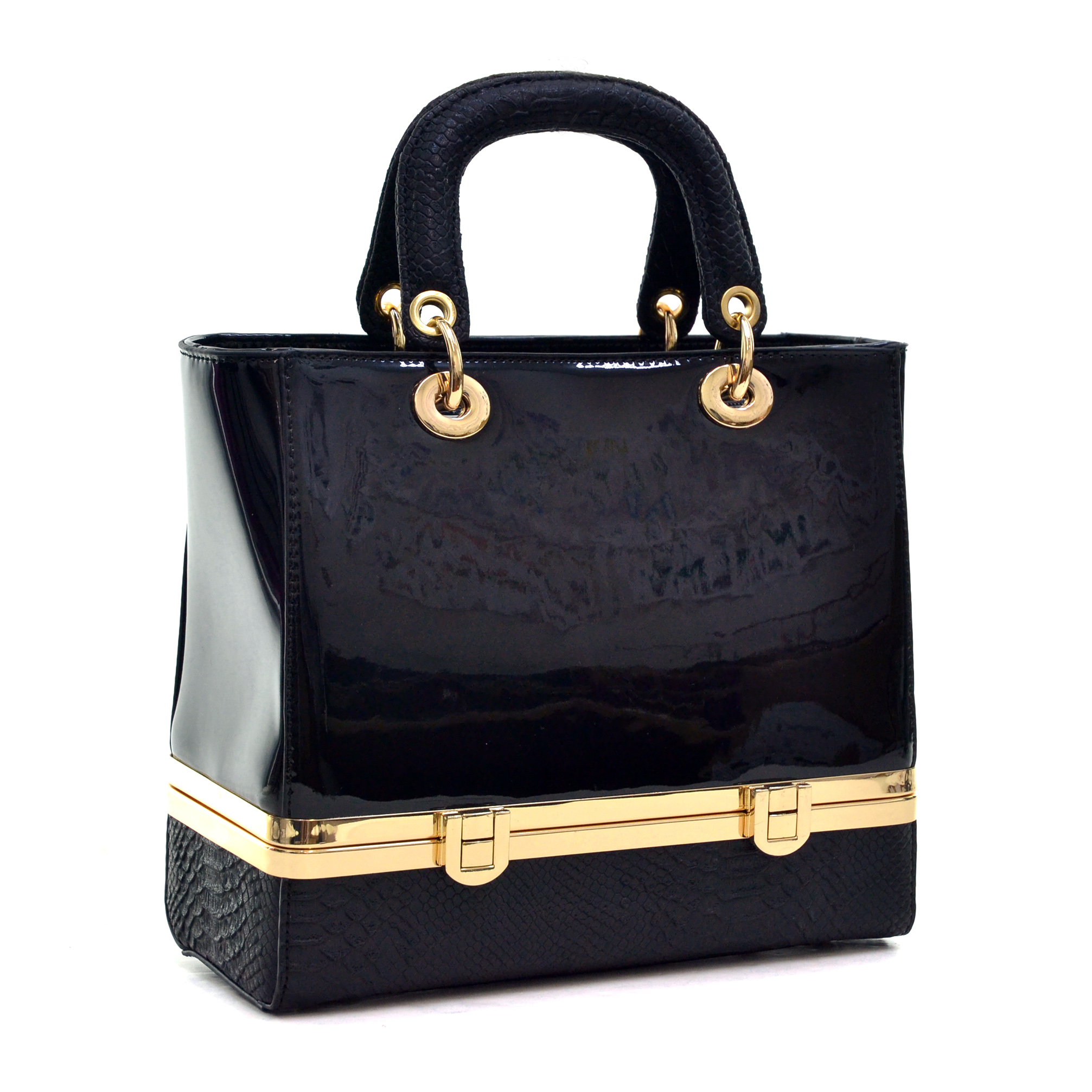 Dasein Patent Leather Satchel with Bottom Box Compartment
