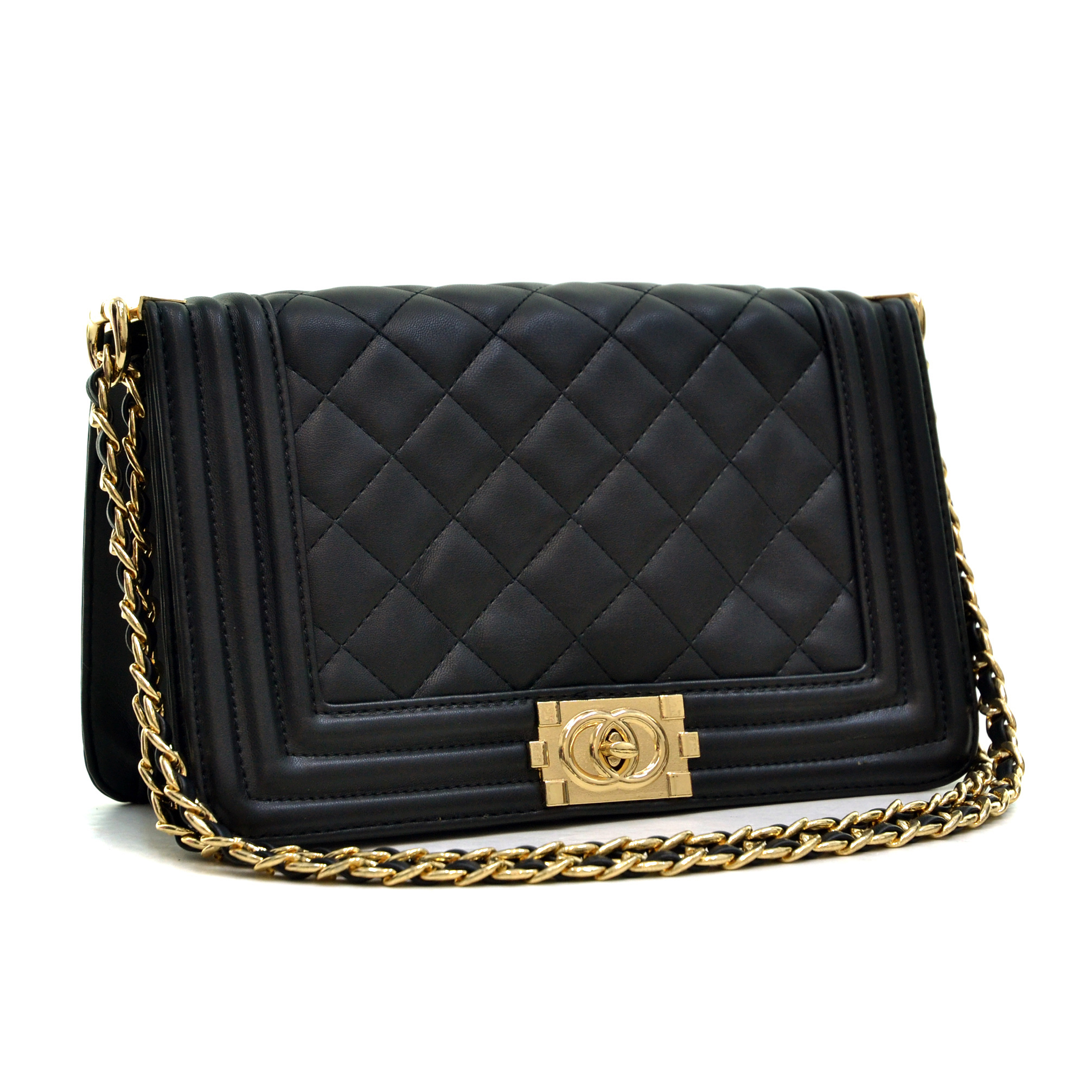 Dasein Quilted Crossbody Bag with Intertwined Leather Gold-Tone Chain Straps