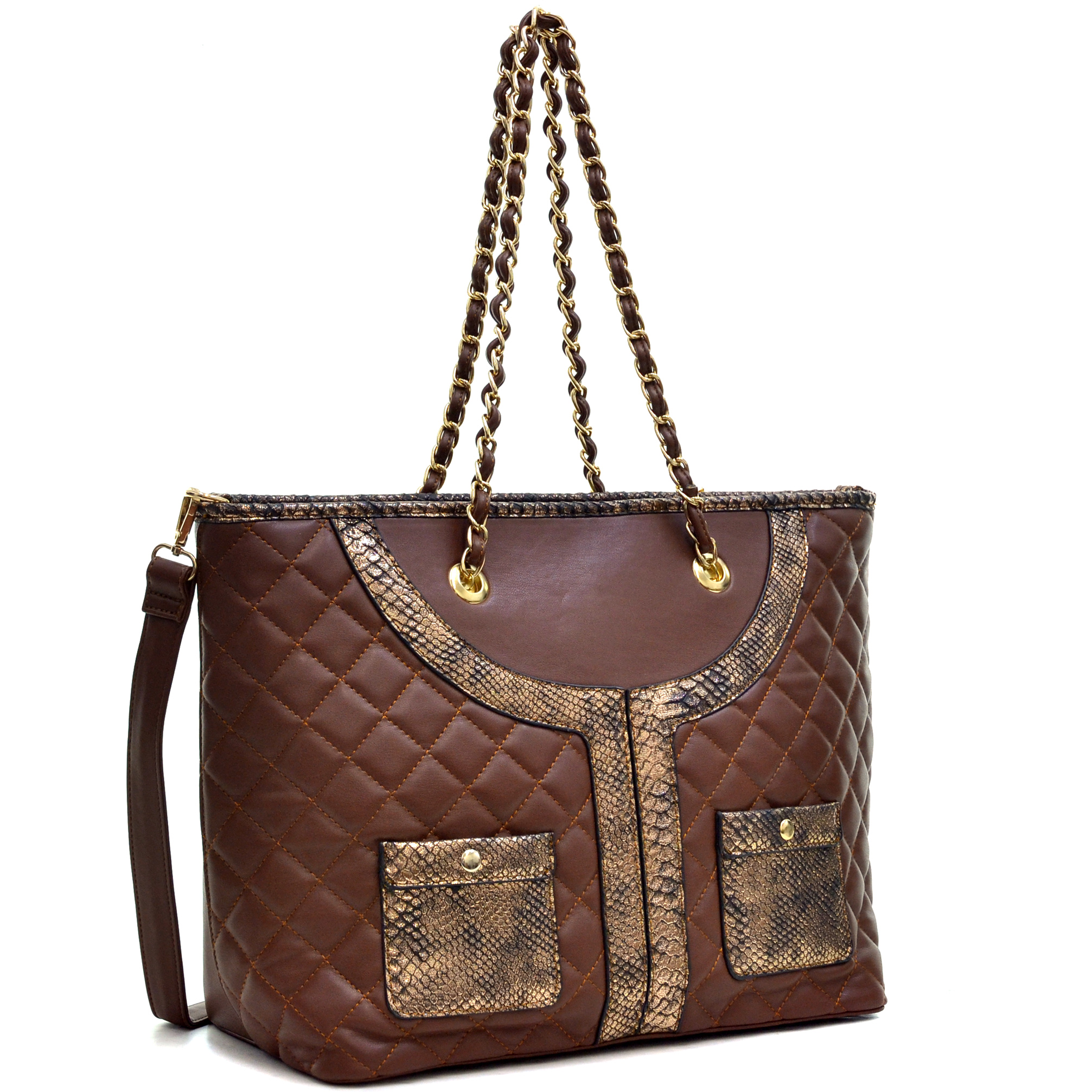 Dasein Faux Leather Quilted Tote Bag with Snake Embossed Trim