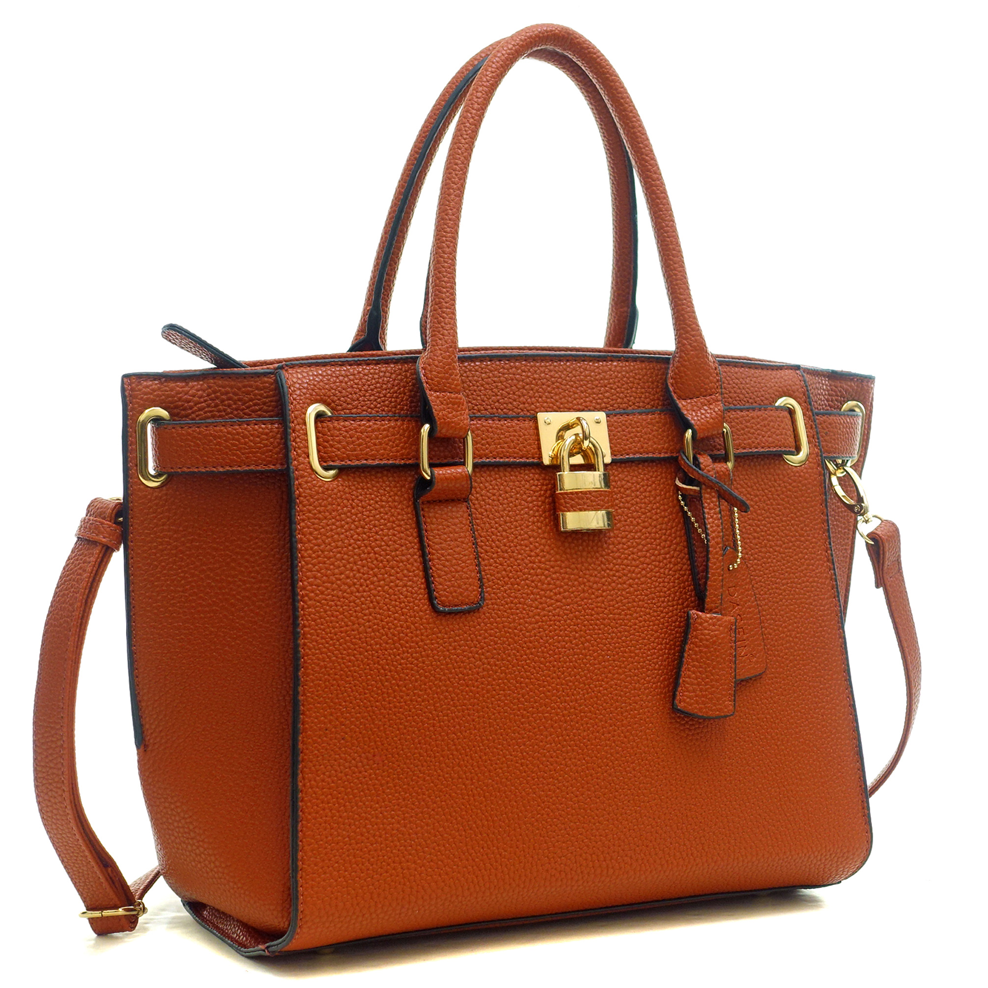 Dasein® Buffalo Faux Leather Belted Medium Tote Bag