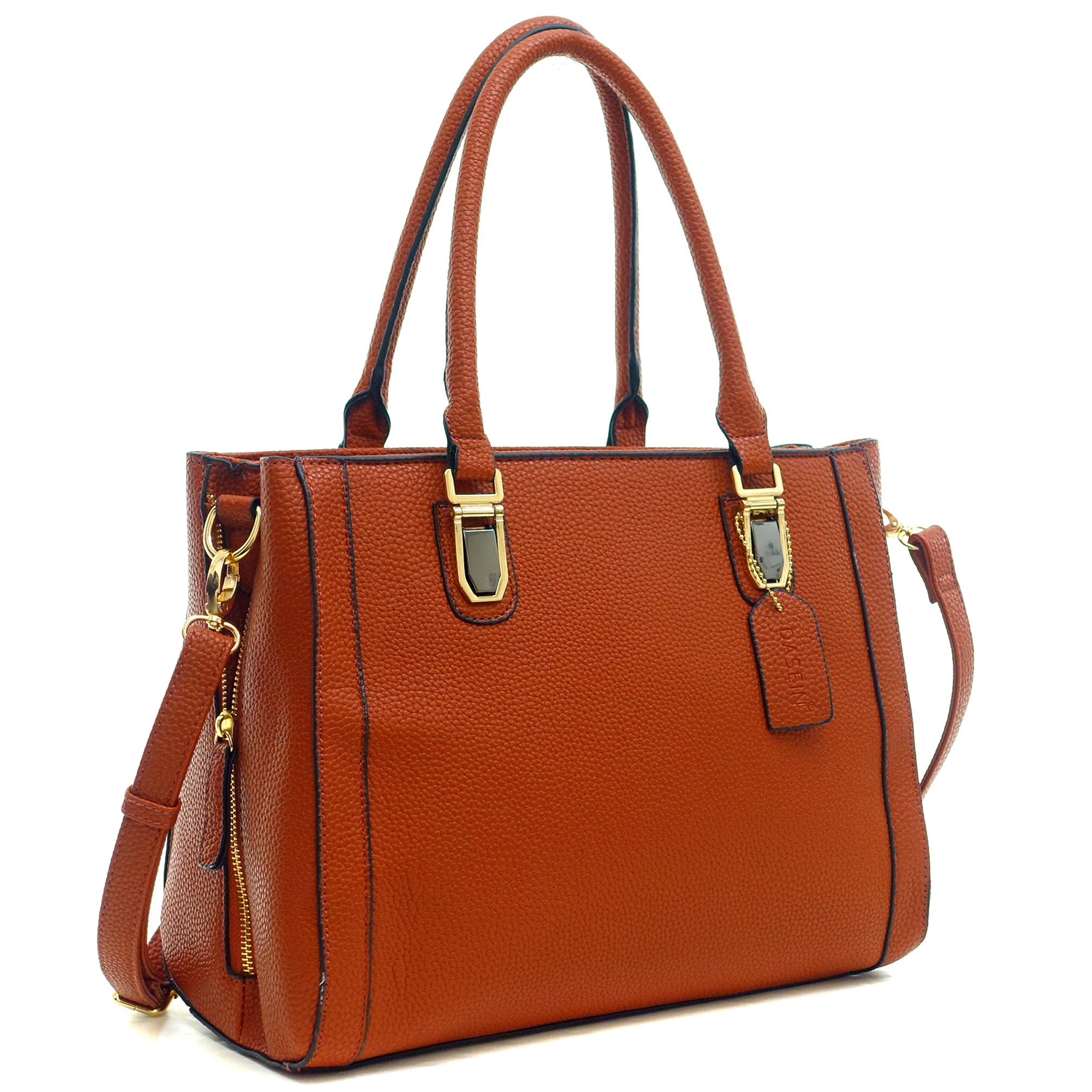 Dasein® Buffalo Faux Leather Tote Bag with Expandable Zipper Sides