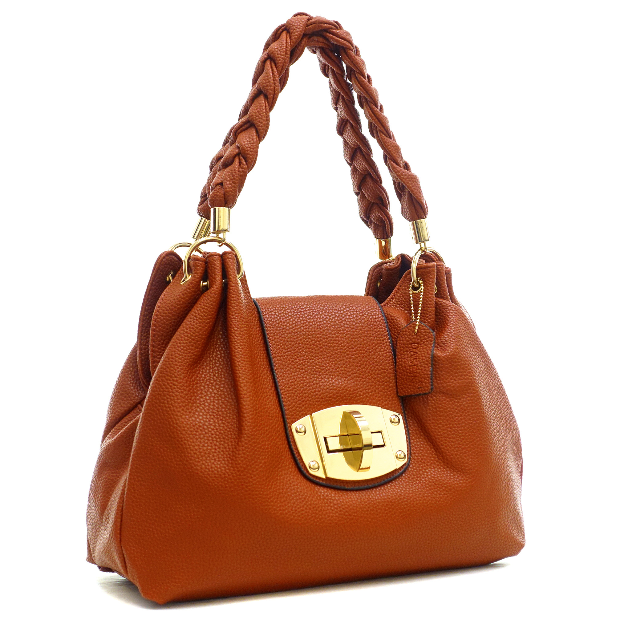 Dasein Buffalo Leather Hobo Bag with Braided Shoulder Straps