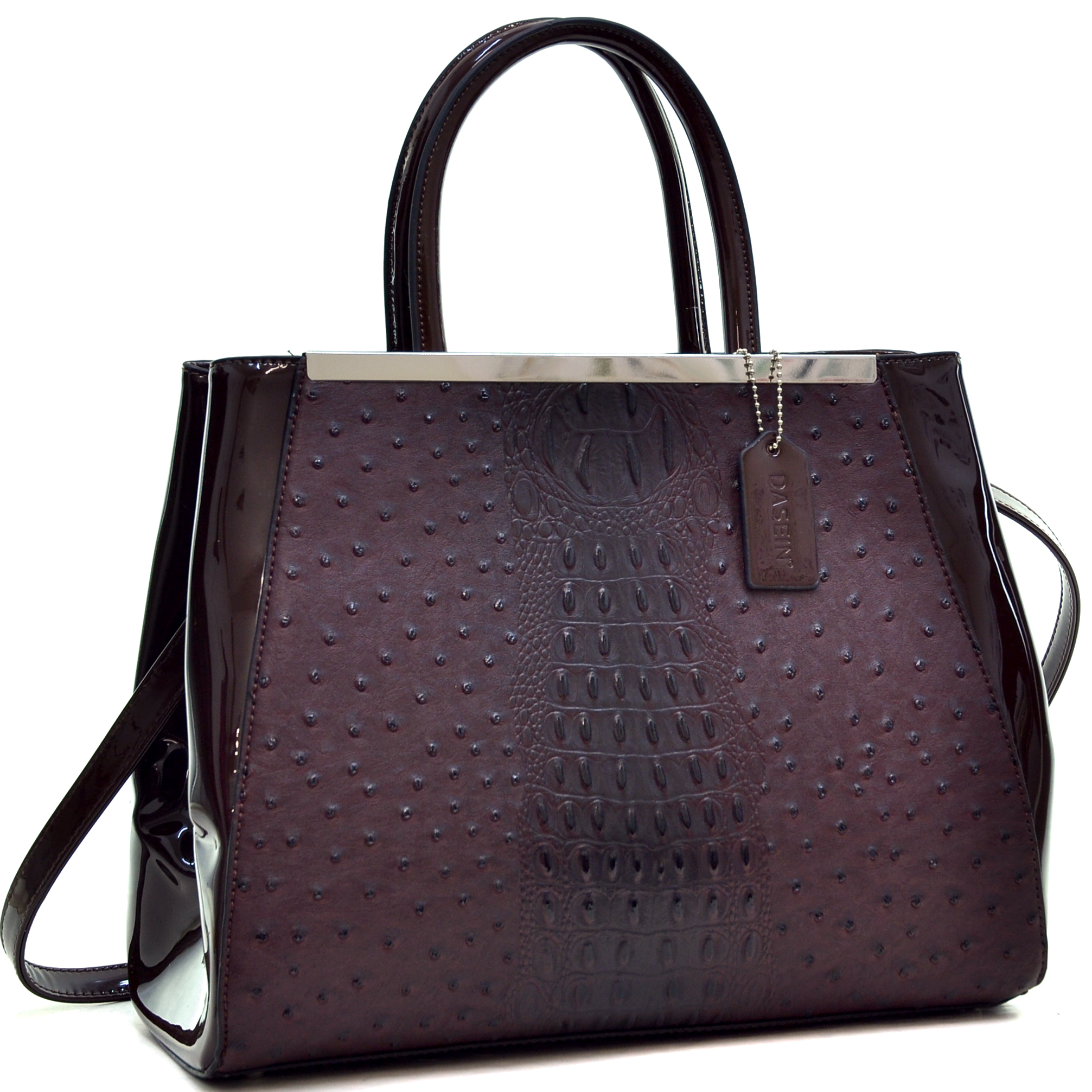 Dasein Structured Ostrich Faux Leather Satchel with Shoulder Strap